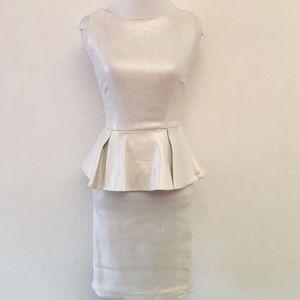 Alice + Olivia Issac White Peplum Dress Linen Sz 2